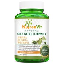 SUPERFOOD PURE ORGANIC SPIRULINA + CHLORELLA + WHEATGRASS EXTRACT 60 CAP... - $21.55