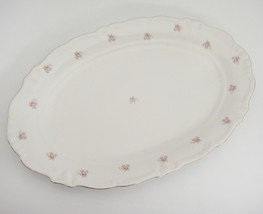 "Winterling Rosedot 12"" Oval Serving Platter Pink Roses White Gilded Bavaria - $22.76"