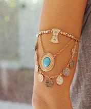 Gold Disc Arm Bracelet, Bohemian Charms Boho Coachella Arm Band Bracelet - $19.60