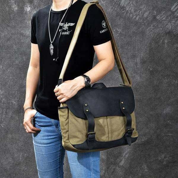 On Sale, Horse Canvas With Leather Messenger Bag, Men Shoulder Bag Satchel Bag