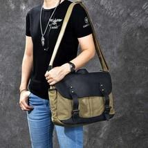 On Sale, Horse Canvas With Leather Messenger Bag, Men Shoulder Bag Satchel Bag image 1