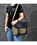 On Sale, Horse Canvas With Leather Messenger Bag, Men Shoulder Bag Satch... - $130.00