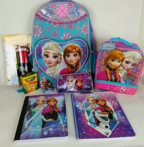 Frozen School Supplies Backpack Lunch Bag Pencil Case Notebooks Crayons ... - $39.60