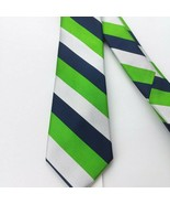 Rooster Men's 100% Silk Neck Tie Blue White Lime Green EUC - $12.16