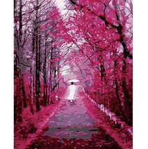 Paint By Number Kit Abstract Red Purple Forest Path DIY Picture 40x50cm ... - $15.51