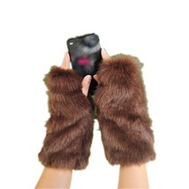 LL-Partner Fingerless Fur Gloves With Short Sleeves-Arm Wrist Warmers Mi... - $23.18