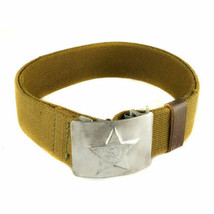Soviet Army Olive Canvas Belt with Silver Star Buckle WW2 - $14.24