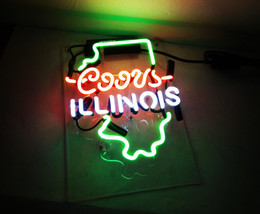 "New illinois Handcraft Home Wall Man Cave Lamp Art Sign Neon Sign 11"" by 7"" - $59.00"