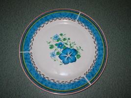 Royal Norfolk 10 5/8 Dinner Plate Greenbrier Stoneware Blue Morning Glory Flower - $8.29