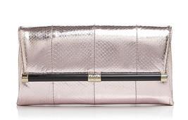 NWT Diane Von Furstenberg DVF Pink Koi Holographic Snakeskin 440 Envelop... - $139.50