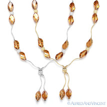 Genuine Swarovski Crystal Elements Ladies 14k Yellow White Gold Beaded Necklace - $214.19