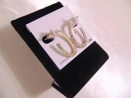 """Macys 1 1/8"""" """" Gold Tone Simulated Diamond 3/4 Hoop Earrings L343 - $14.69"""