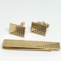 Vintage Men's Gold Tone Cufflink Tie Pin Tack Set Swank - $24.74