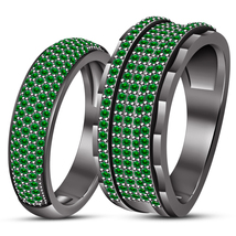 Green Sapphire Wedding Band Engagement Ring Couple Set Black Gold Fn. 92... - $175.96
