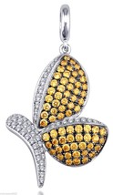 Butterfly Pendant With Amber Cubic Zirconia Stones With Pave Set Cubic Z... - $55.57