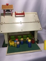 Vintage 1971 Fisher Price Little People Play Family  SCHOOL HOUSE & Desks letter - $36.85