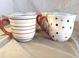 """STONEY HILL MUGS SET OF 4 """"UP COUNRTY"""" Rooster Dots & Stripes Tuscan 4"""" ... - $17.81"""