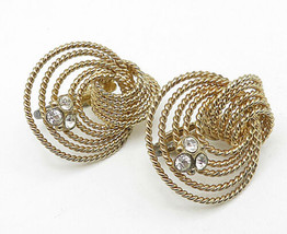 NAPIER 925 Silver - Vintage Topaz Gold Plated Knot Designed Earrings - E... - $53.57