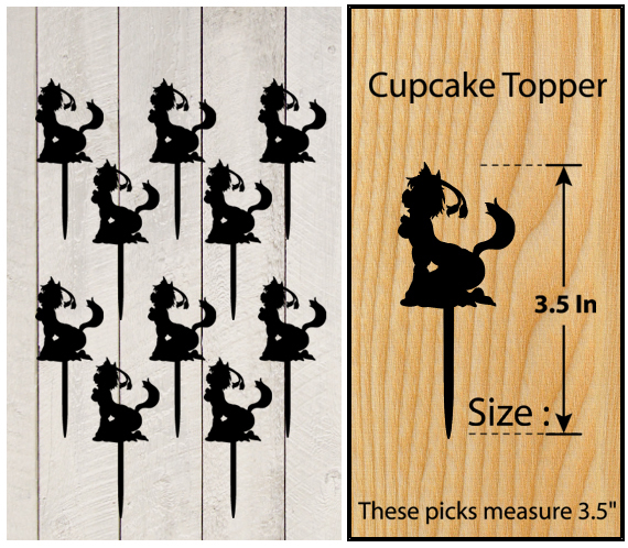 Ca353 Decorations cupcake toppers momiji silhouette Package : 10 pcs