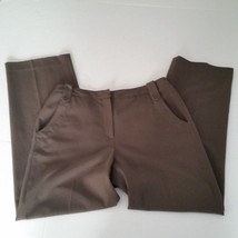 Larry Levine Womens Petites Brown Stretch Dress Pants Sz 8P - $14.03
