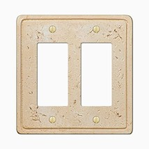 Faux Stone Double Rocker GFCI Wall Plate Cover, Toasted Almond - $14.52