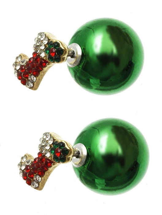 Bling Crystals Christmas Stocking Double Sided Ball Earrings Green