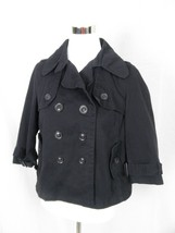 MNG Sportswear by Mango Navy Blue Jacket 3/4 Sleeve Cropped Pea Coat M - $11.65