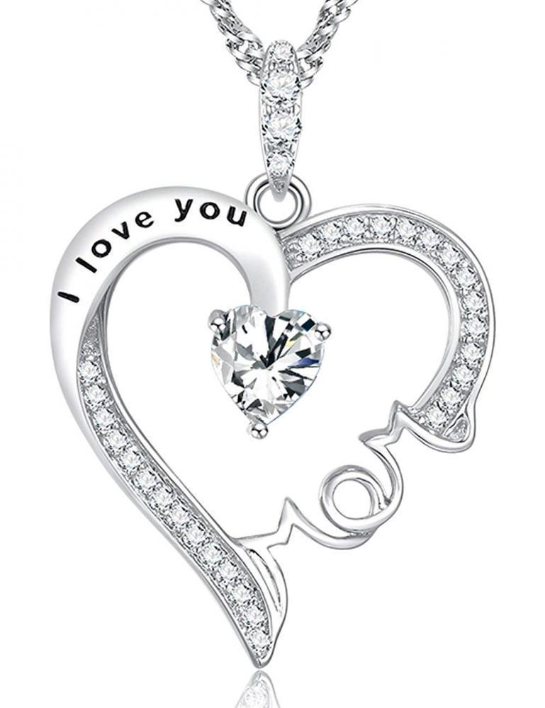 Primary image for I Love You Mom Jewelry Heart Necklace BD Gift Sterling Silver Diamond Swarovski
