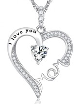 I Love You Mom Jewelry Heart Necklace BD Gift Sterling Silver Diamond Sw... - $69.29