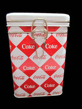 Coca-Cola Square Harlequin Diamond Pattern Tin Canister Tea Latching White Lid  - $11.39