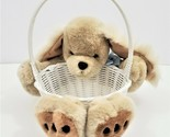 Stuffed Puppy Easter Basket Plush Animal Dog Kids Toy