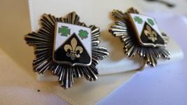 VTG Heraldic Coat of Arms Fleur de Lis Shamrock Maltese cross Clip earrings - $19.80