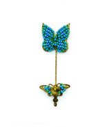 Antique Miriam Haskell Turquoise Blue Seed Bead Butterfly Gold Tone Stic... - $269.99