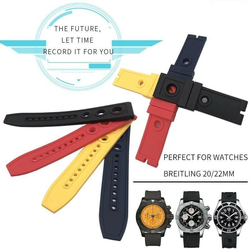 Primary image for 20 22mm Natural Silicone Rubber Watch Strap Fashion Watchband For Breitling Band