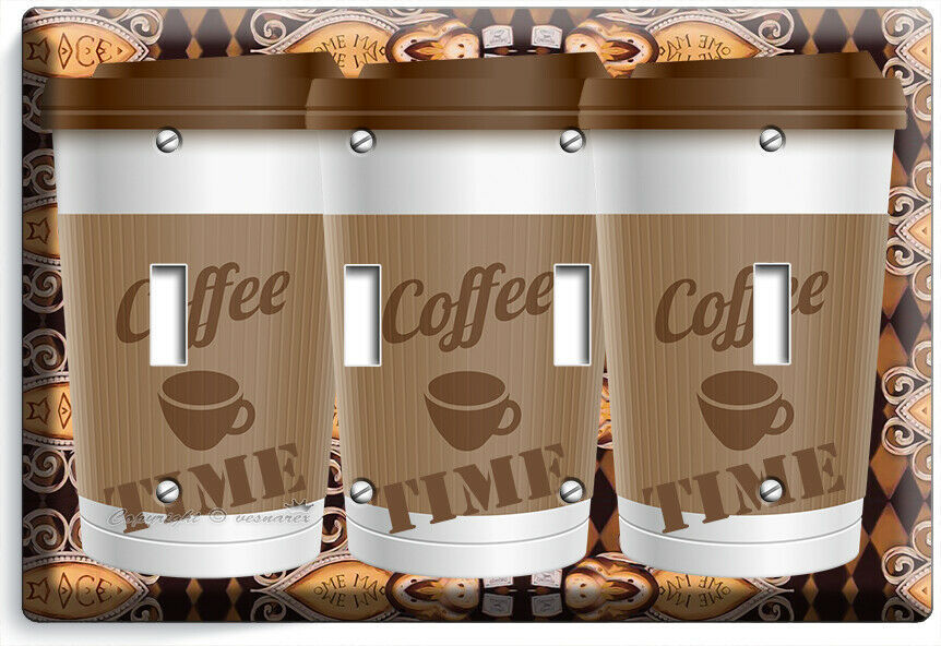 COFFEE TIME PAPER CUP LIGHT SWITCH OUTLET PLATE ROOM KITCHEN CAFE SHOP ART DECOR image 14