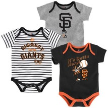 San Francisco Giants Infant Home Run Bodysuit 3-Piece Set MLB Baby Baseball
