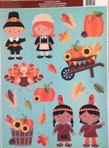 Static Window Clings Thanksgiving Children Pilgrims Indians Fall Harvest - $8.42