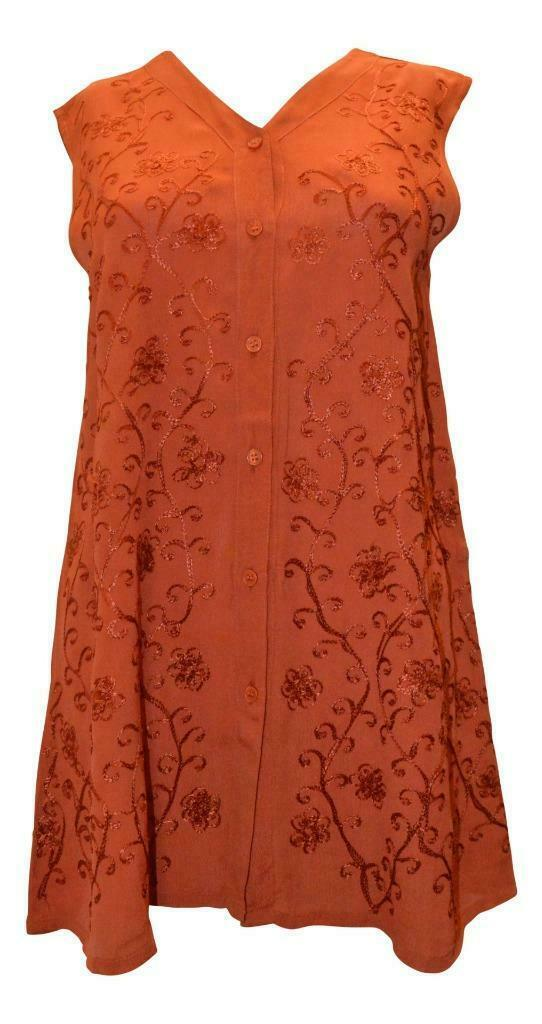Primary image for BLUEPORT LONDON EMBROIDERED VINTAGE INSPIRED TUNIC BUTTON DOWN BLOUSE TOP 10