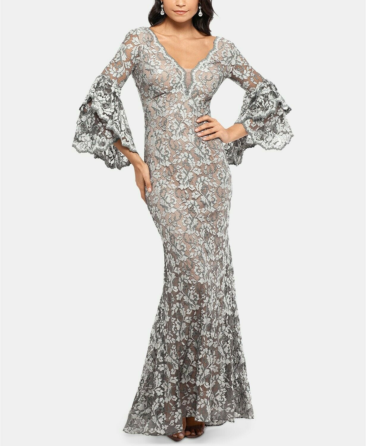 Betsy & Adam Embellished Lace Gown Grey/Nude Plus Size 14W $355