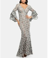 Betsy & Adam Embellished Lace Gown Grey/Nude Plus Size 14W $355 - $180.49