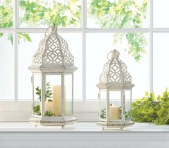 2 Distressed White Candle Lanterns w/ Cutout Flourishes 1 Small & 1 Large - $42.52