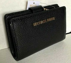 New Michael Kors Jet Set Travel Bifold Zip Coin wallet Pebble Leather Black - $70.00