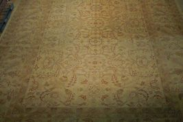 New Vintage Look Perfect Chobi Hand-Knotted 12x18 Beige Oushak Wool Rug image 12