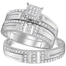 10kt White Gold His & Her Round Diamond Cluster Matching Bridal Wedding Ring Set - $598.00