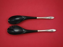 """Sculptured Rose by Towle Sterling Silver Salad Serving Set 2pc w/ Ebony 12 1/4"""" - $109.00"""