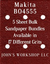 Makita BO4555 - 1/4 Sheet - 17 Grits - No-Slip - 5 Sandpaper Bulk Bundles - $7.14