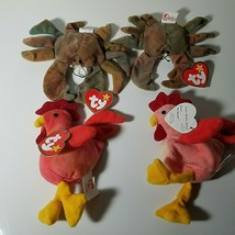 Ty Teenie Beanie Babies Lot Claude the Crab & Strut Rooster Vintage 1993 - $9.59
