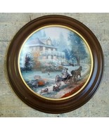 THOMAS KINKADE Collector Plate A CARRIAGE RIDE HOME W/WOODEN FRAME 3rd I... - $56.61
