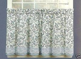 Vintage Blue Floral Lace 24L Tier Set Kitchen Curtains - $14.99