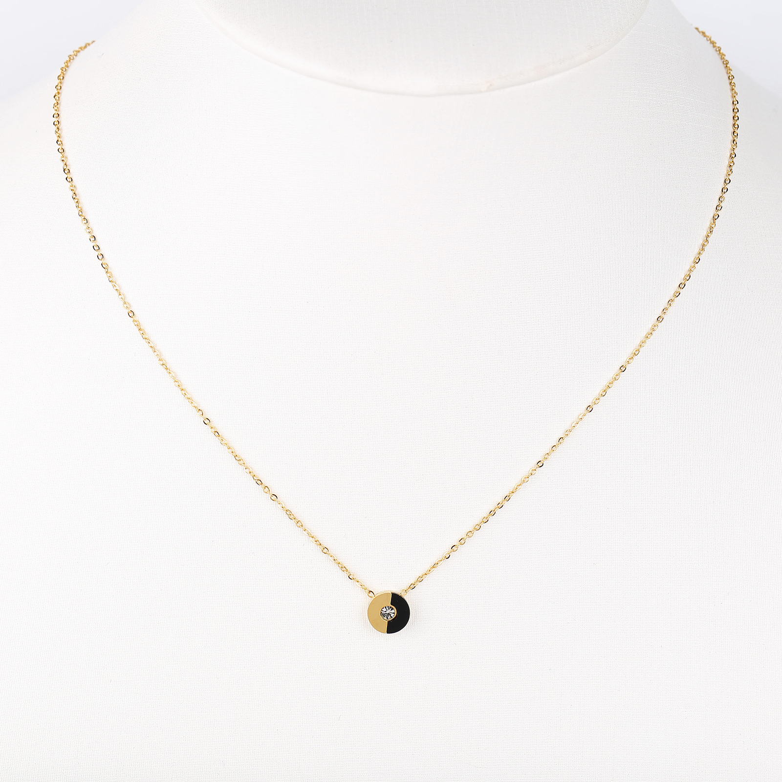 UE- Gold Tone & Jet Black Designer Pendant Necklace With Swarovski Style Crystal